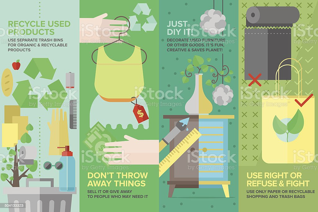 Re-used and recyclable products flat icons set vector art illustration