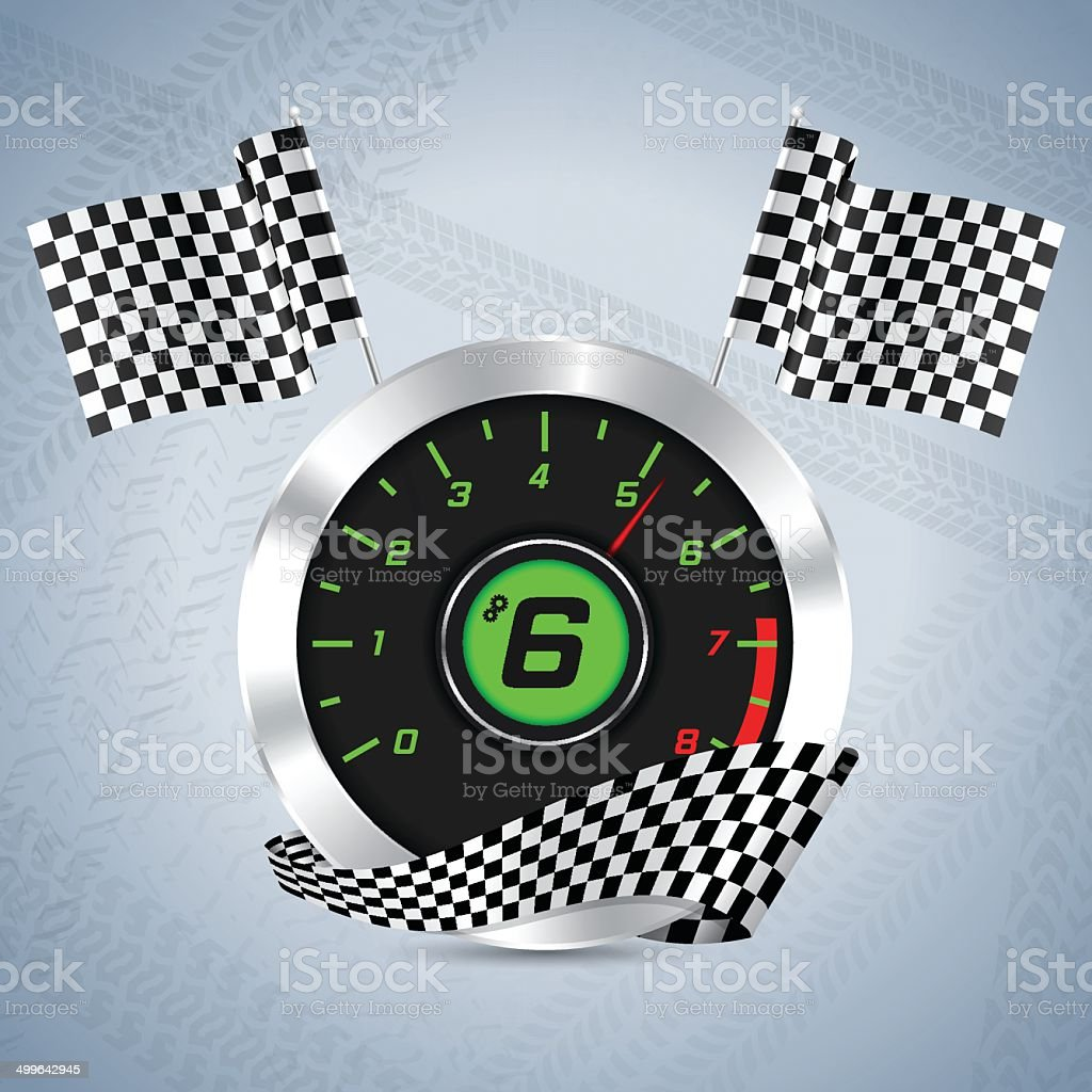 Rev counter with checkered flag vector art illustration