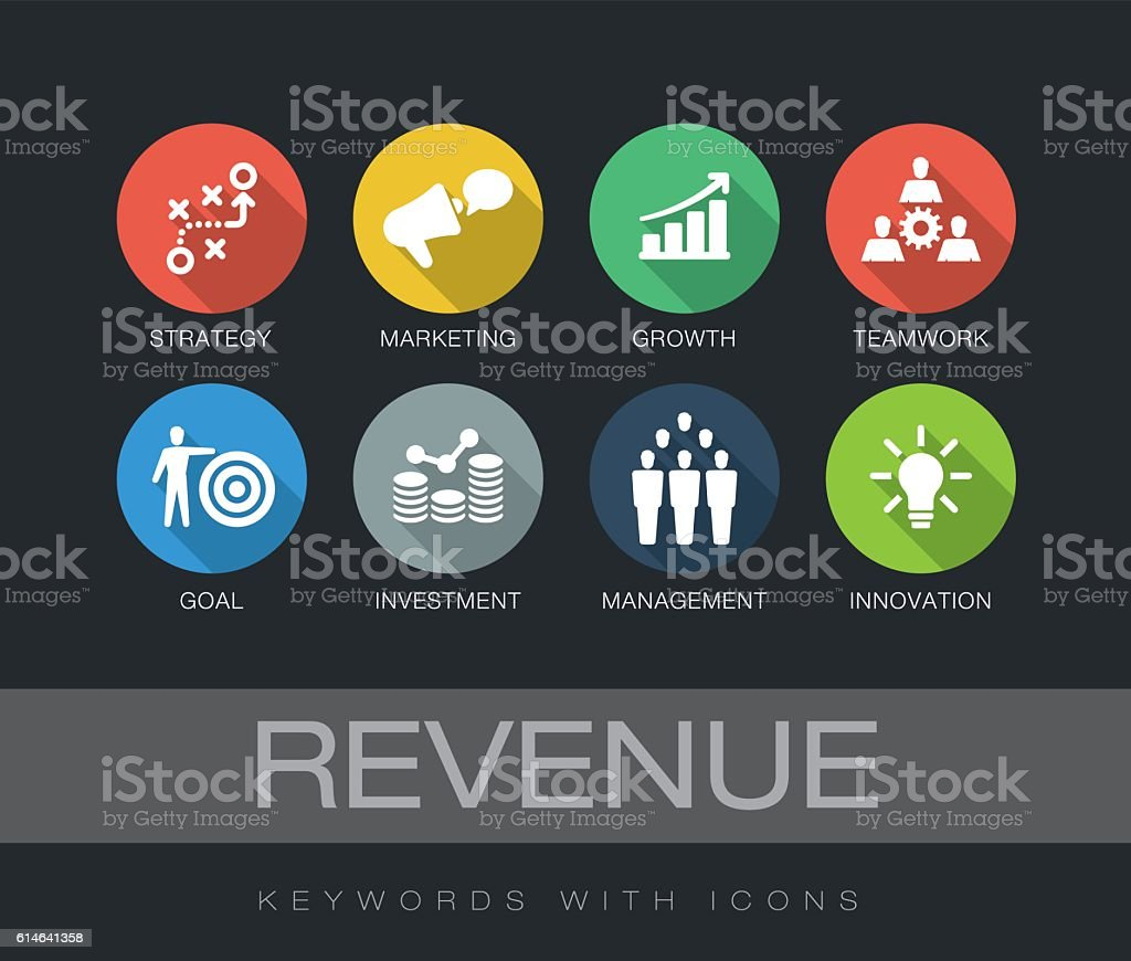 Revenue keywords with icons vector art illustration