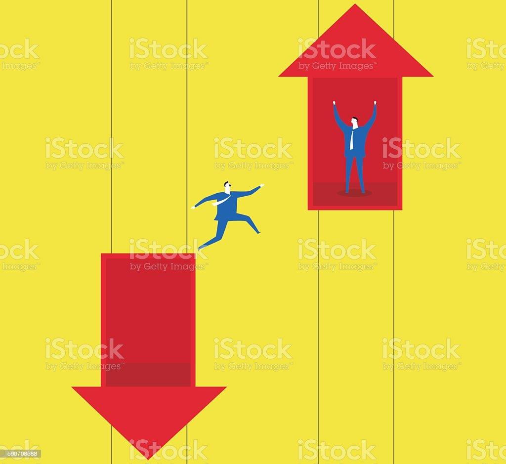 Reverse adversity vector art illustration