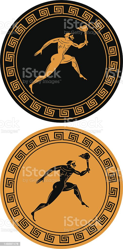 Reverse images of orange and black Olympic flame vector art illustration