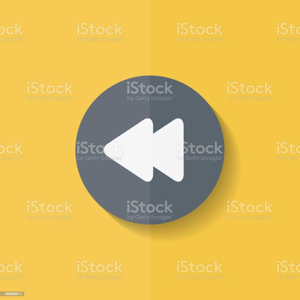 Reverse or rewind icon. Media player. Flat design. vector art illustration