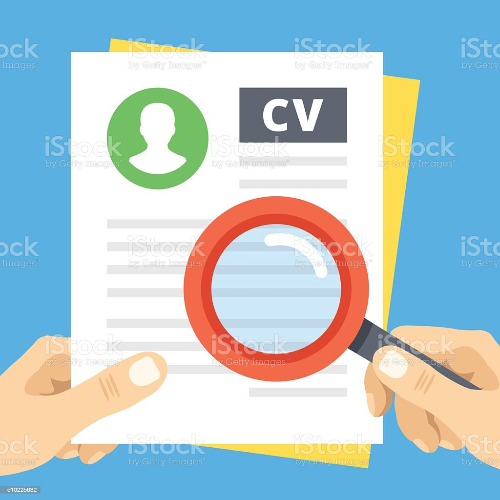 CV review flat illustration. Hand with magnifier over curriculum vitae vector art illustration