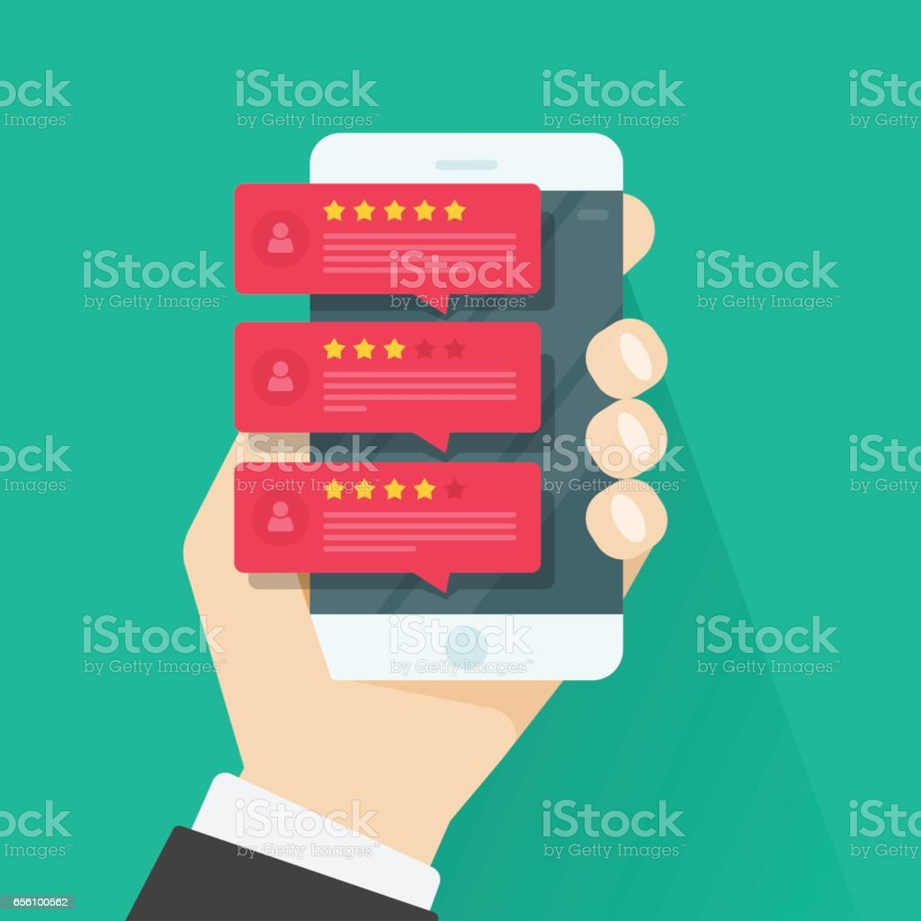 Review rating on mobile phone vector, smartphone reviews stars, testimonials messages, notifications, feedback vector art illustration
