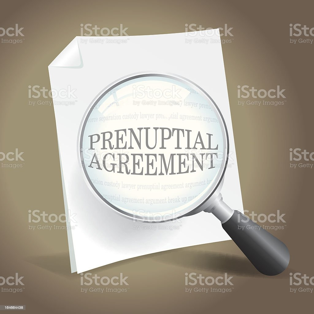 Reviewing a Prenuptial Agreement vector art illustration