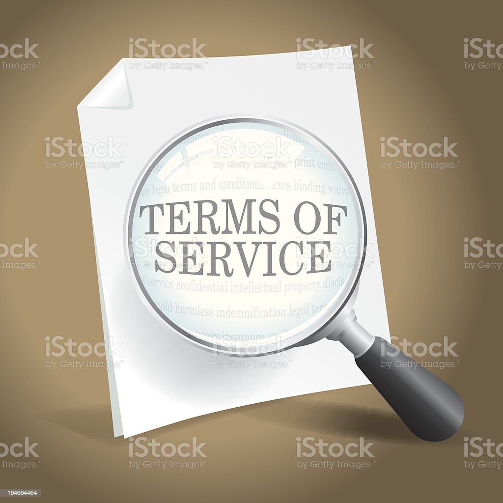 Reviewing Terms of Service royalty-free stock vector art