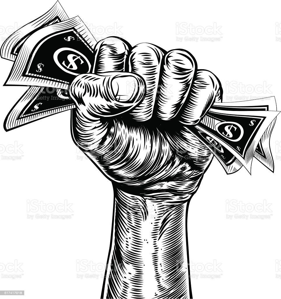 Revolution fist holding money concept vector art illustration