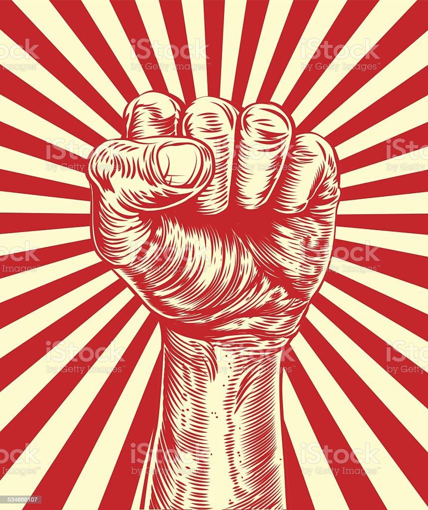 Revolution fist propaganda poster vector art illustration
