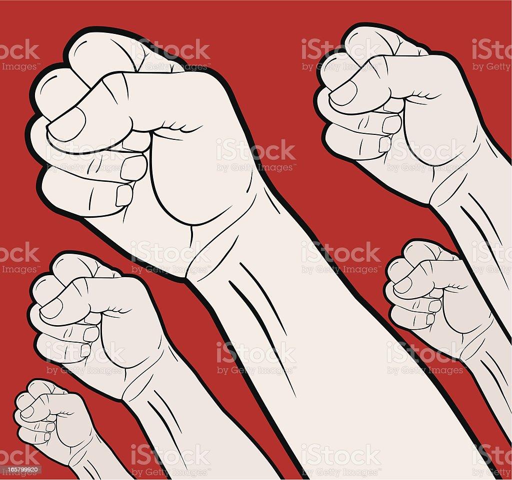 Revolutionary Hands vector art illustration
