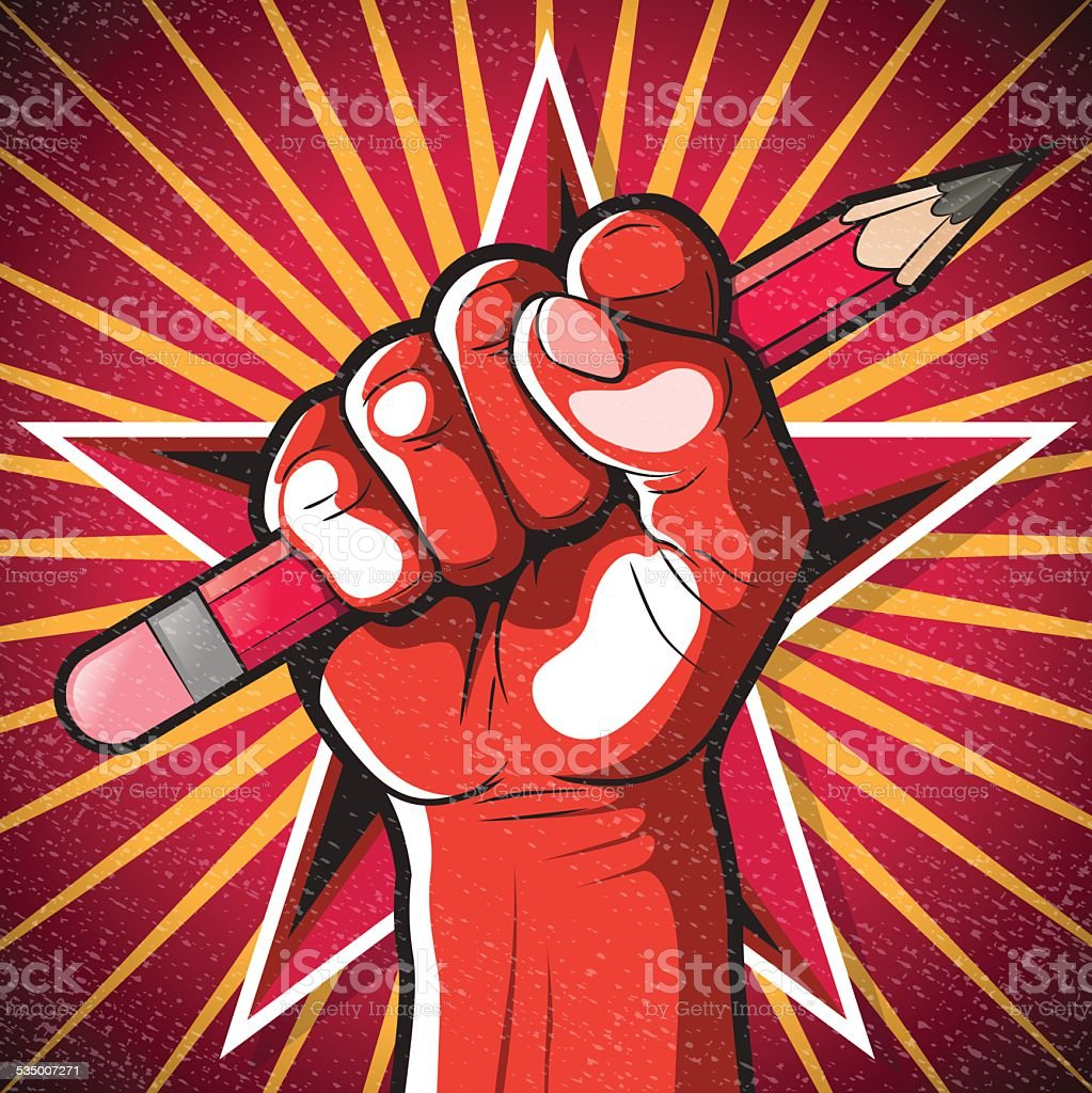 Revolutionary Punching Fist and Pencil Sign. vector art illustration