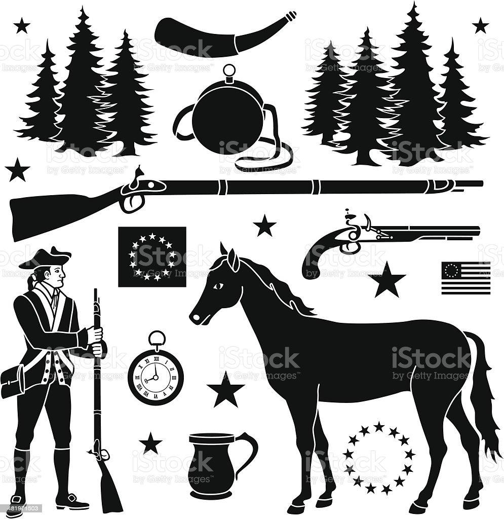 Revolutionary war design elements royalty-free stock vector art