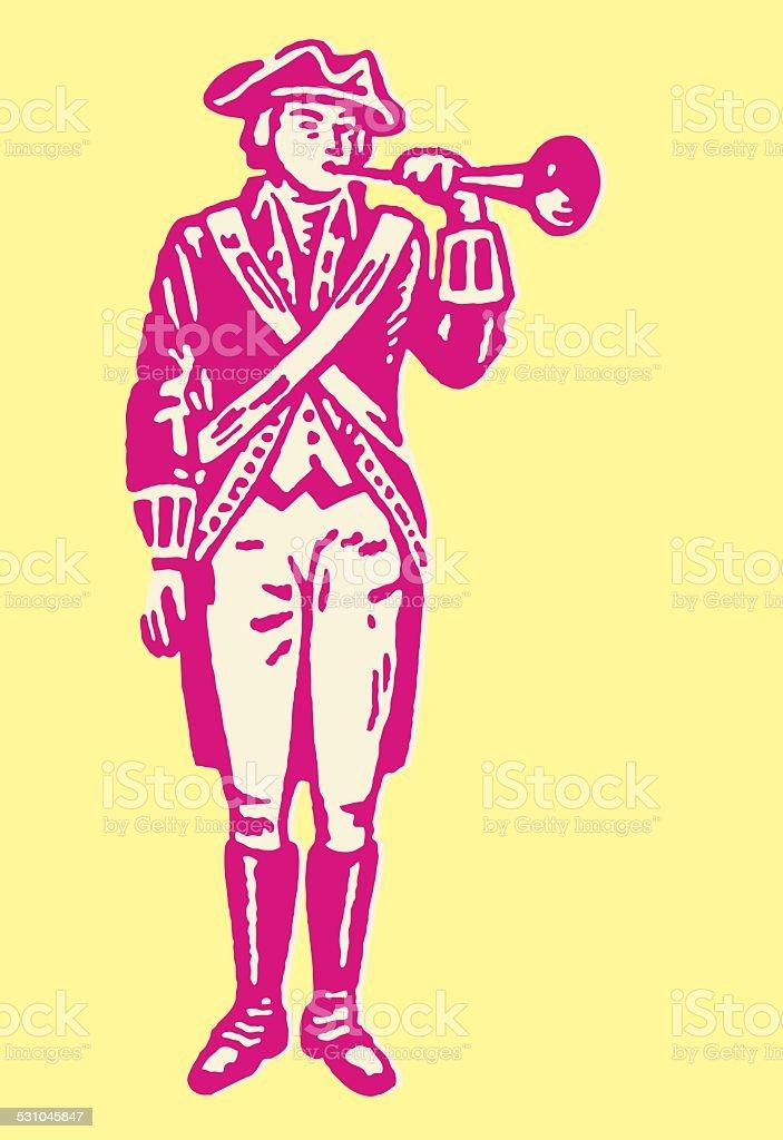 Revolutionary with Trumpet vector art illustration