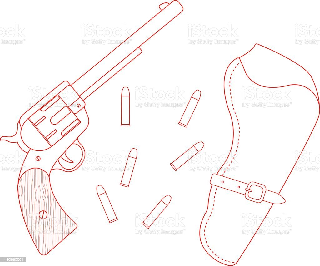 Revolver, leather holster, bullets. Contour vector art illustration