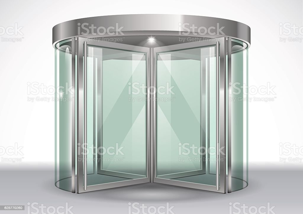 Revolving door shopping center vector art illustration