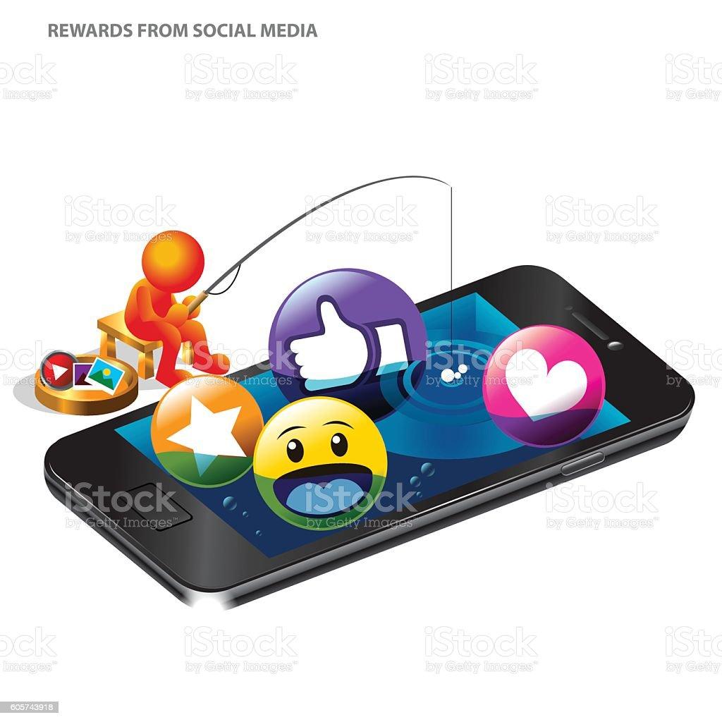 Rewards From Social Media vector art illustration