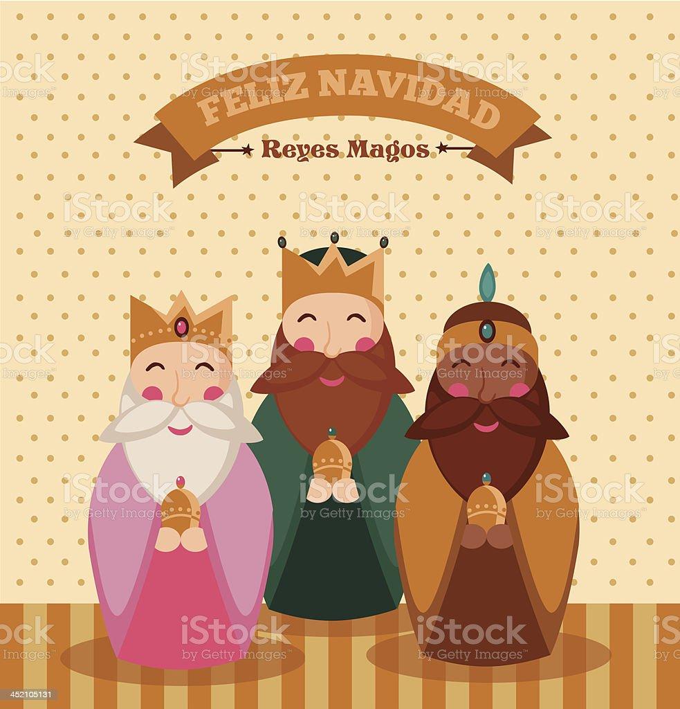 Reyes Magos vector art illustration