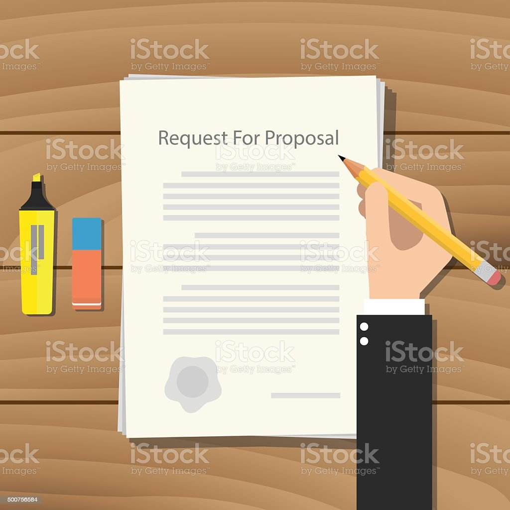 rfp request for proposal paper document vector art illustration