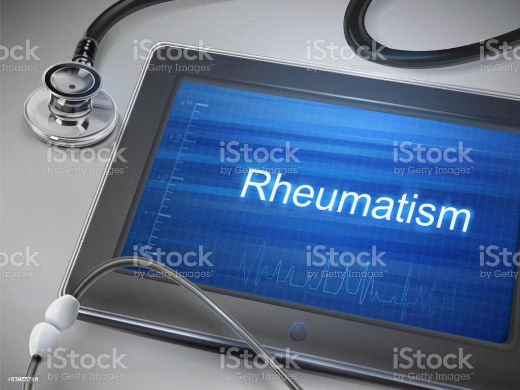 rheumatism word displayed on tablet vector art illustration