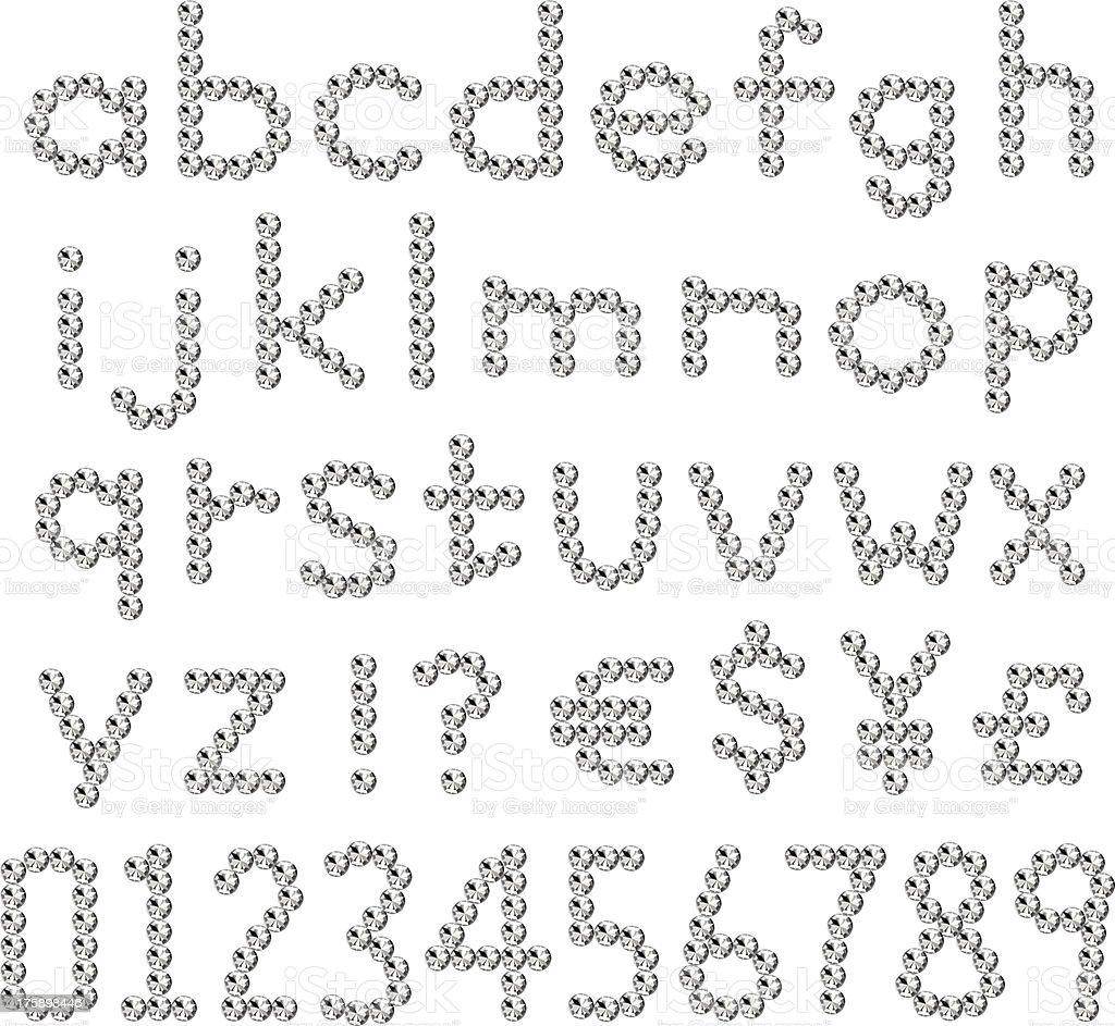 Rhinestones fonts small letter royalty-free stock vector art