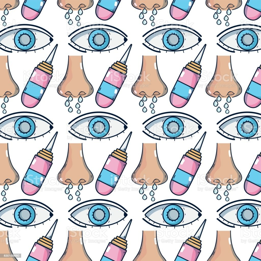 rhinitis and conjunctivitis sickness with bottle drops treatment background vector art illustration