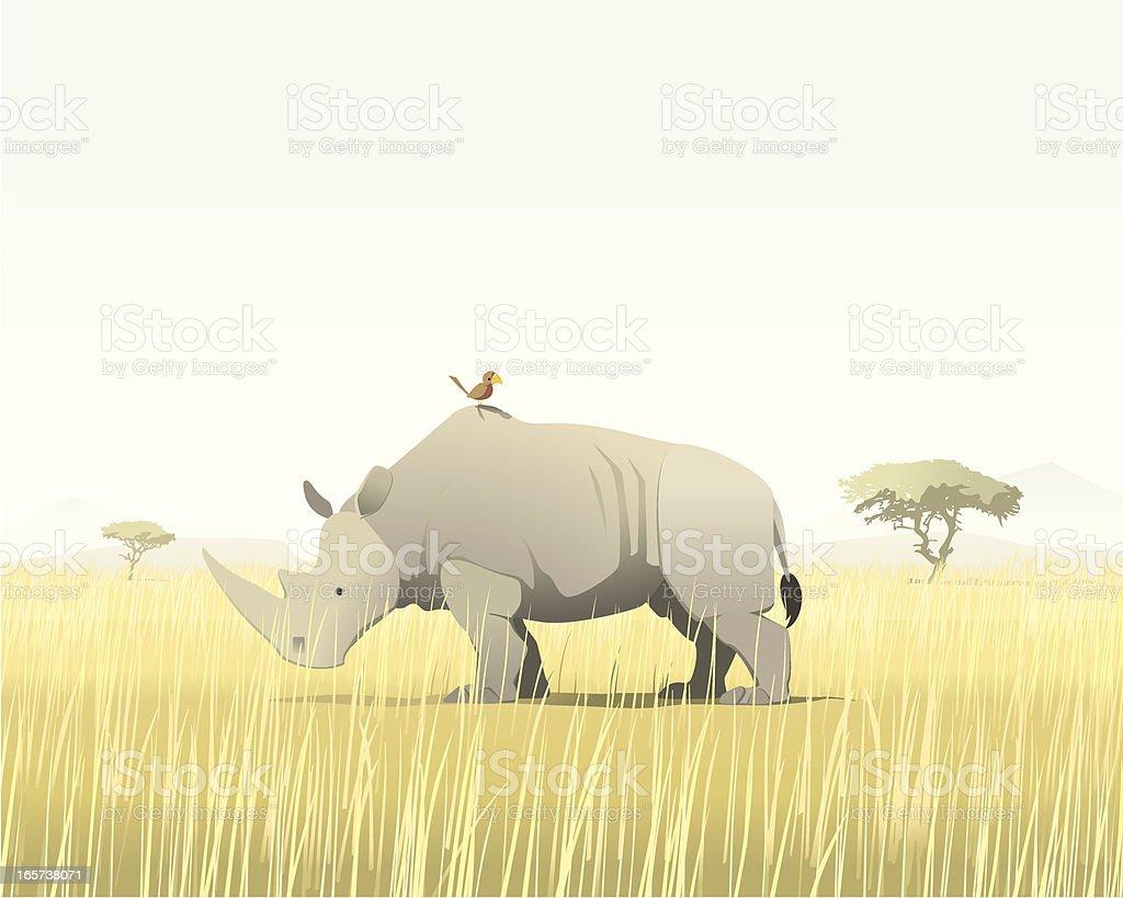 Rhino and bird royalty-free stock vector art