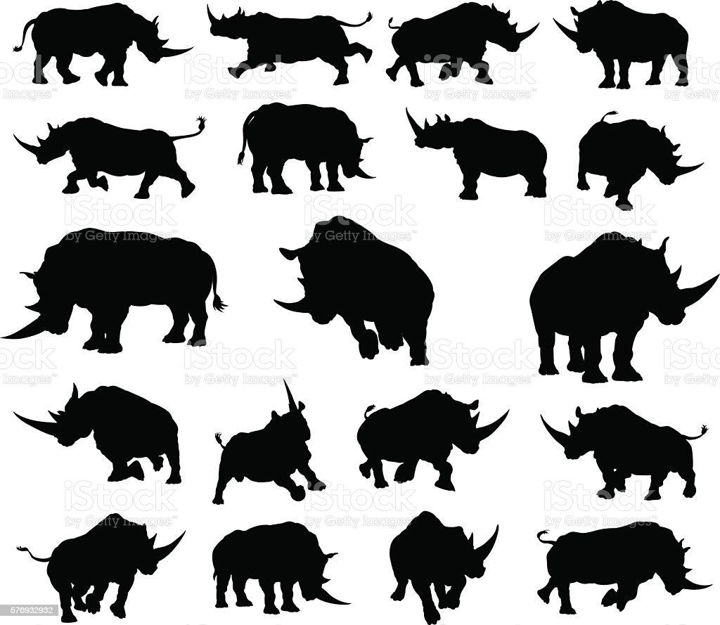 Rhino Animal Silhouettes vector art illustration