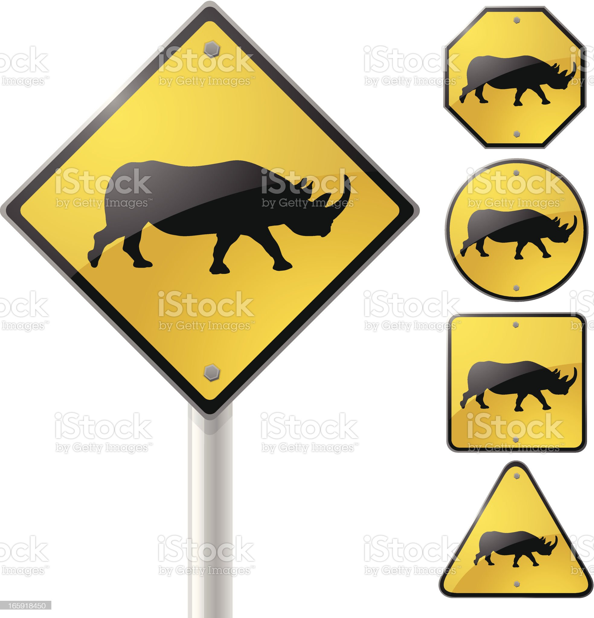 Rhino Crossing Sign royalty-free stock vector art