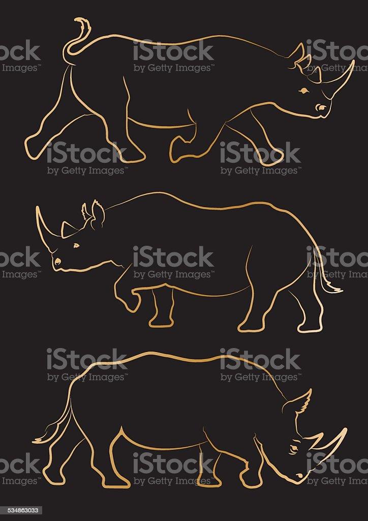 Rhino icons vector art illustration