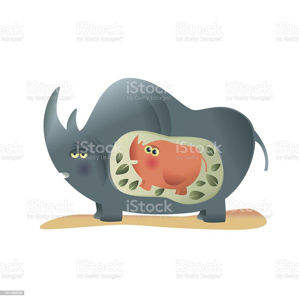 rhino maman stock vecteur libres de droits libre de droits