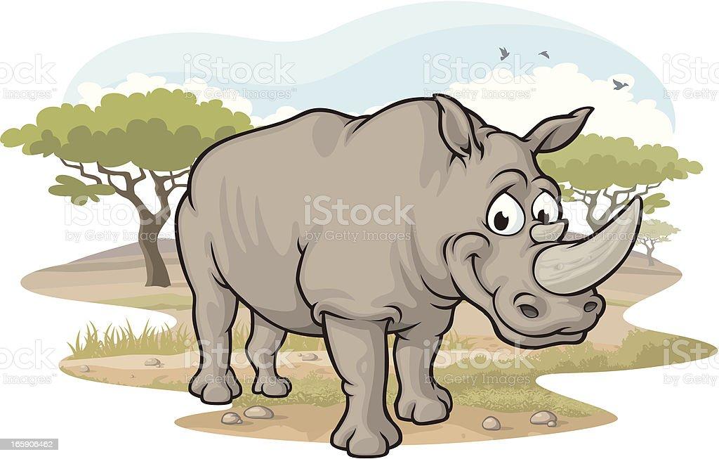 Rhino on the Savannah royalty-free stock vector art