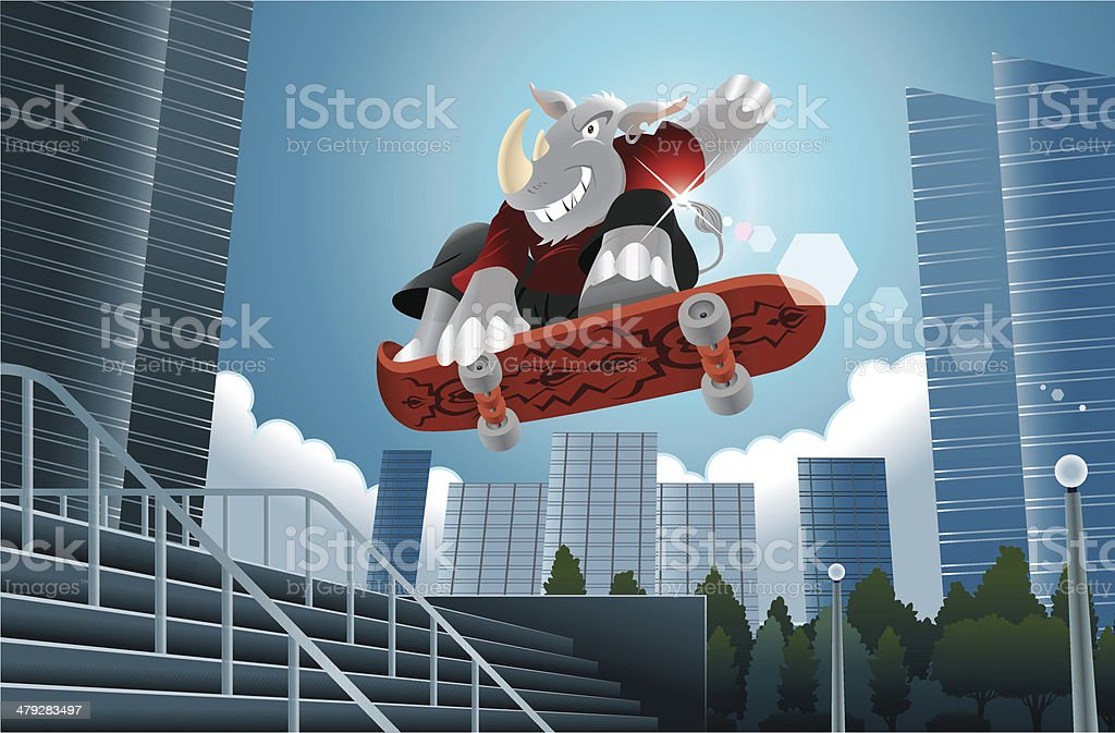 Rhino Skate Urban Scene royalty-free stock vector art