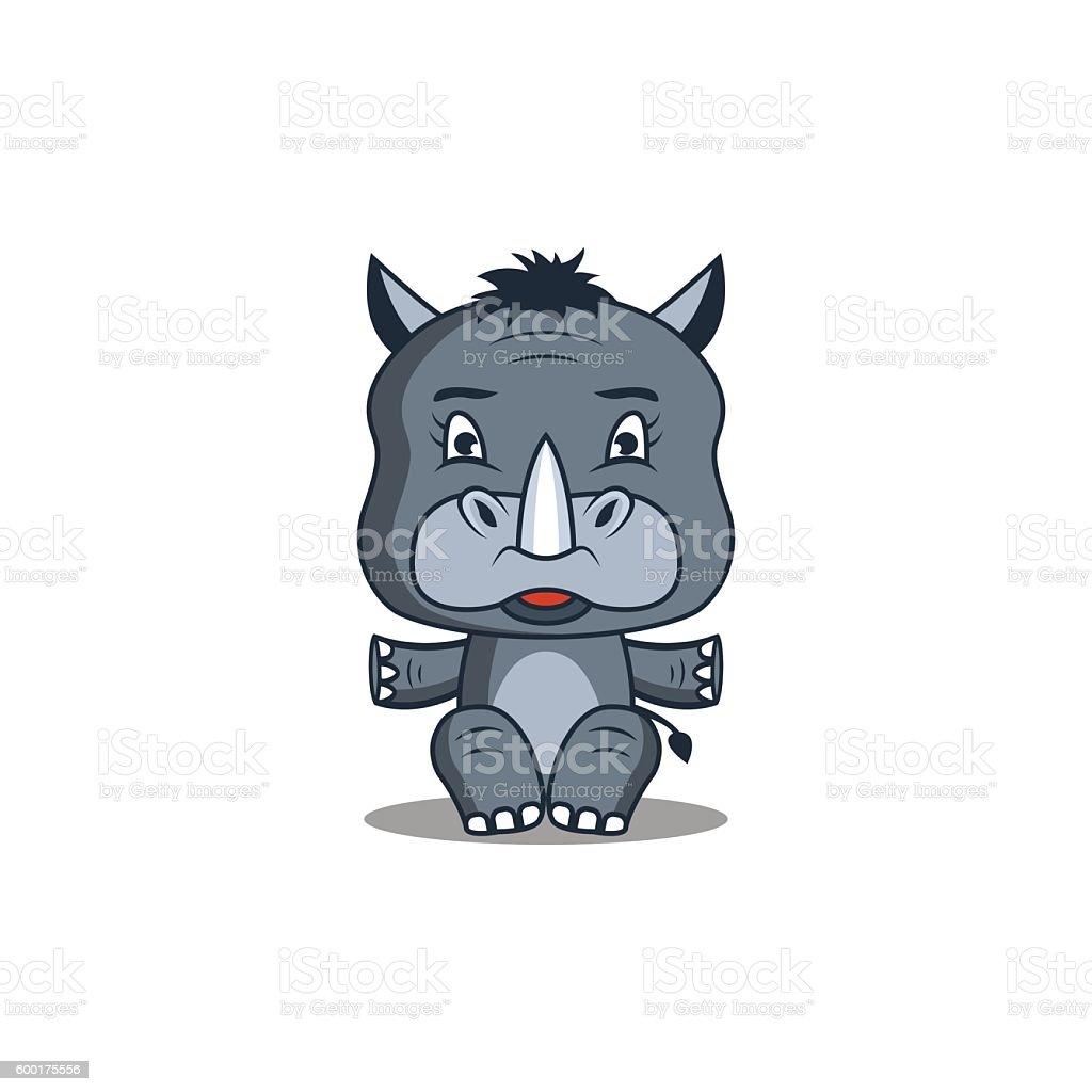 rhinoceros vector art illustration