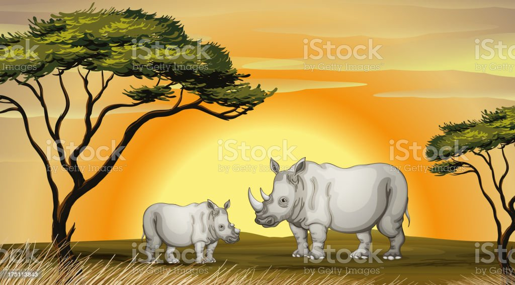 rhinocerous royalty-free stock vector art