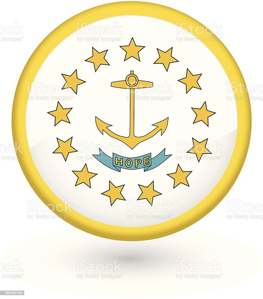 Rhode Island flag button vector art illustration