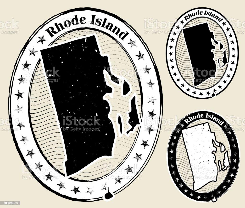 Rhode Island Grunge Map Black & White Stamp Collection vector art illustration