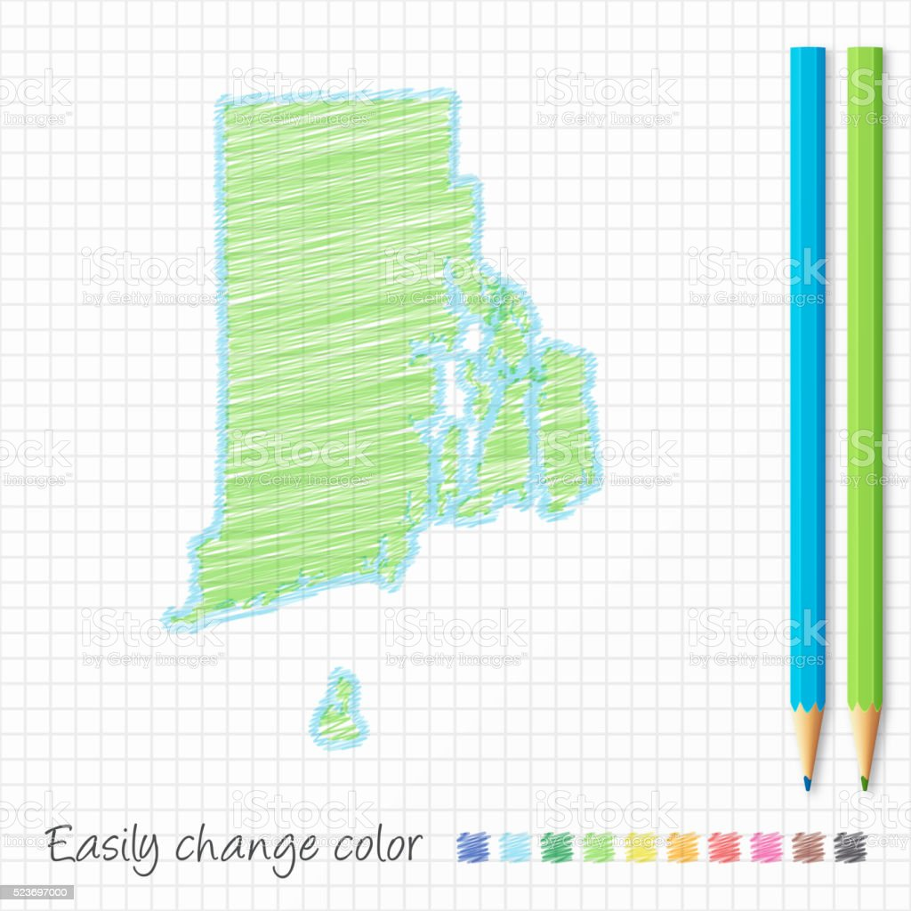Rhode Island map sketch with color pencils, on grid paper vector art illustration