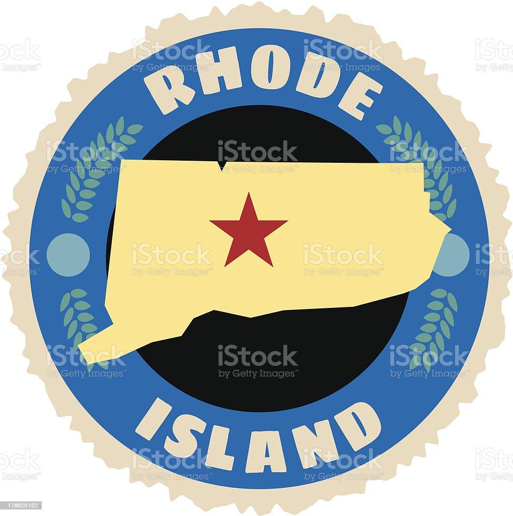 Rhode Island travel sticker or luggage label vector art illustration