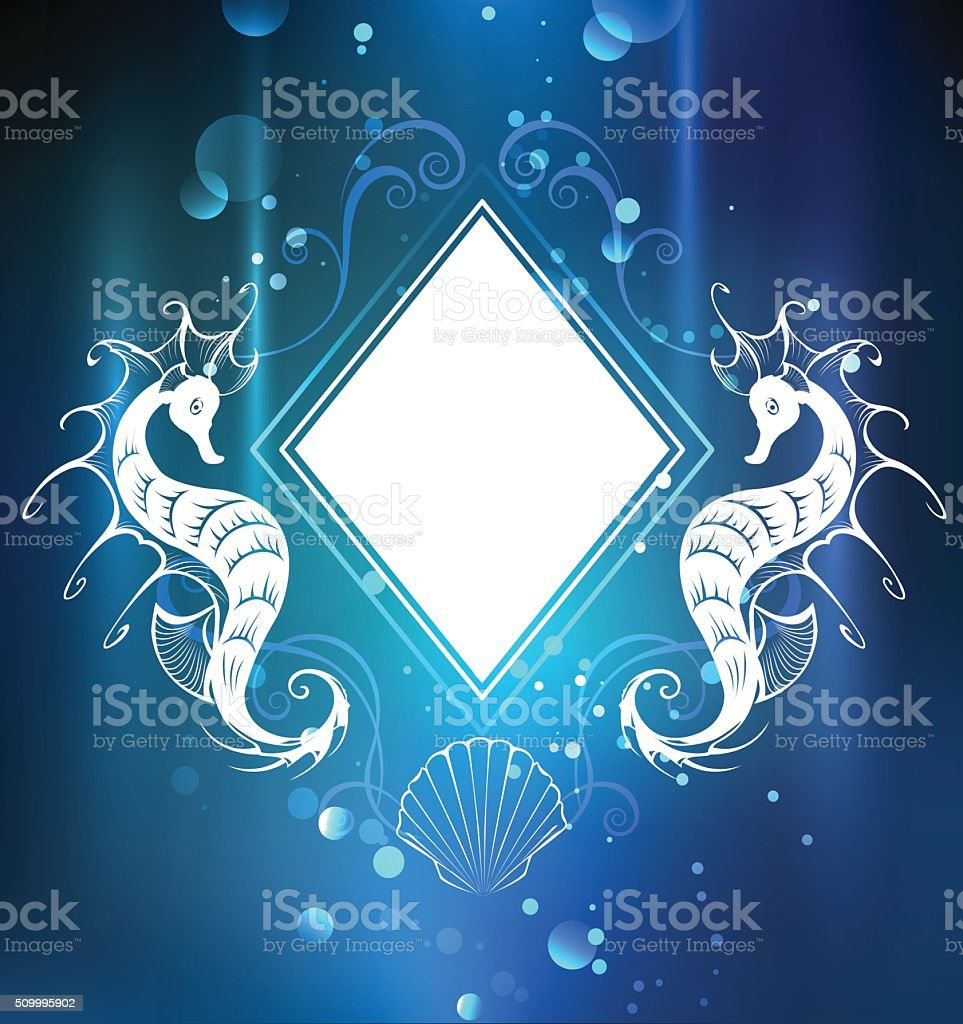 rhombus banner with seahorse vector art illustration
