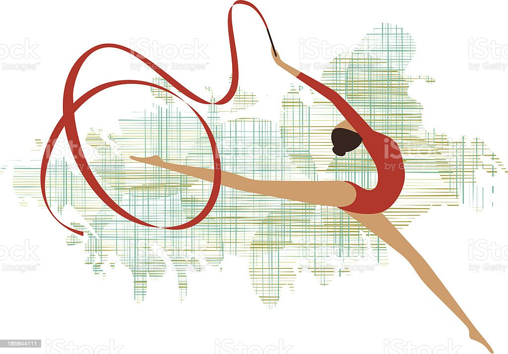Rhythmic gymnastics vector art illustration