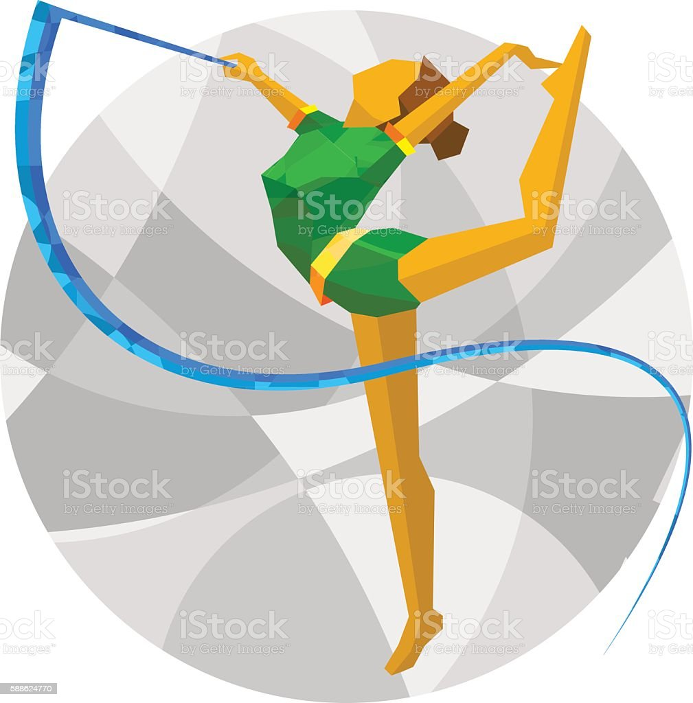 Rhythmic Gymnastics with ribbon with abstract patterns vector art illustration