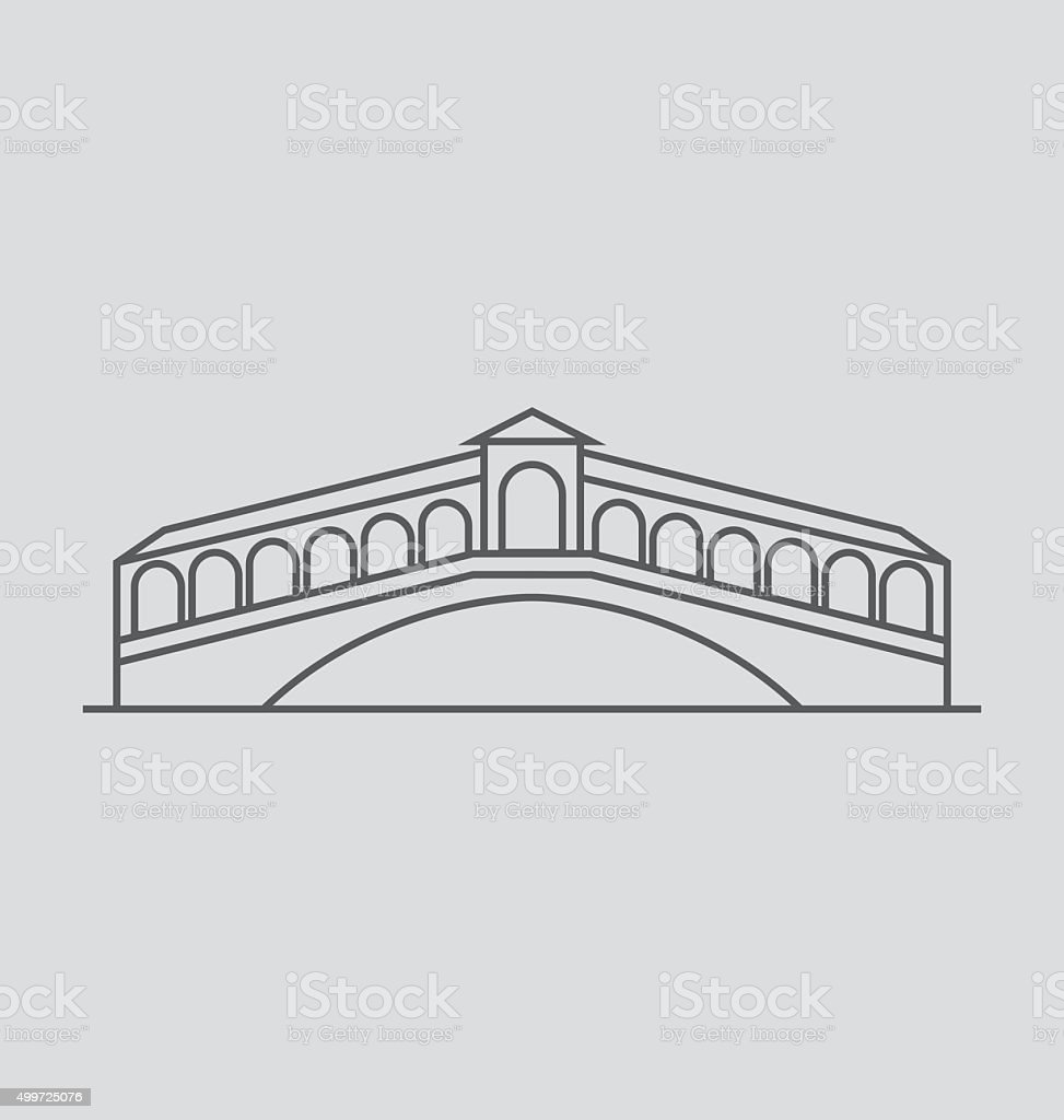 Rialto Bridge line Illustration vector art illustration