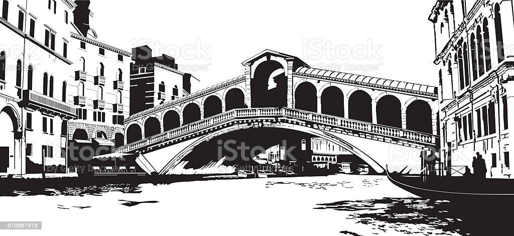 Rialto Bridge vector art illustration