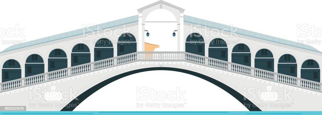 Rialto Bridge, Venice, Italy. Isolated on white background vector illustration. vector art illustration