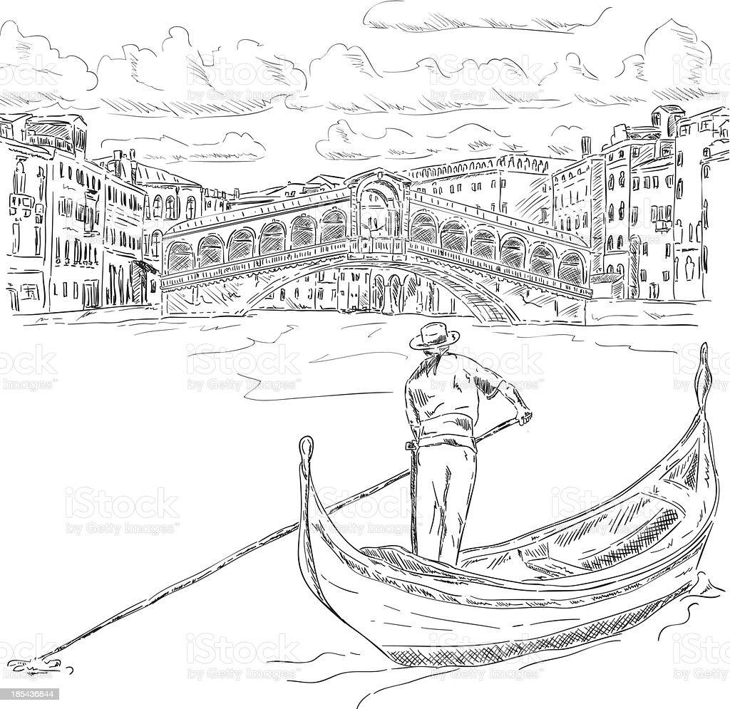 Rialto bridge with gondola vector art illustration