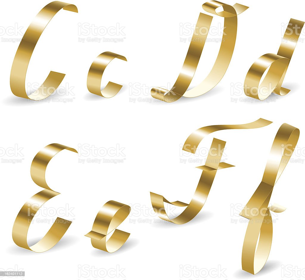 Ribbon alphabet cdef royalty-free stock vector art