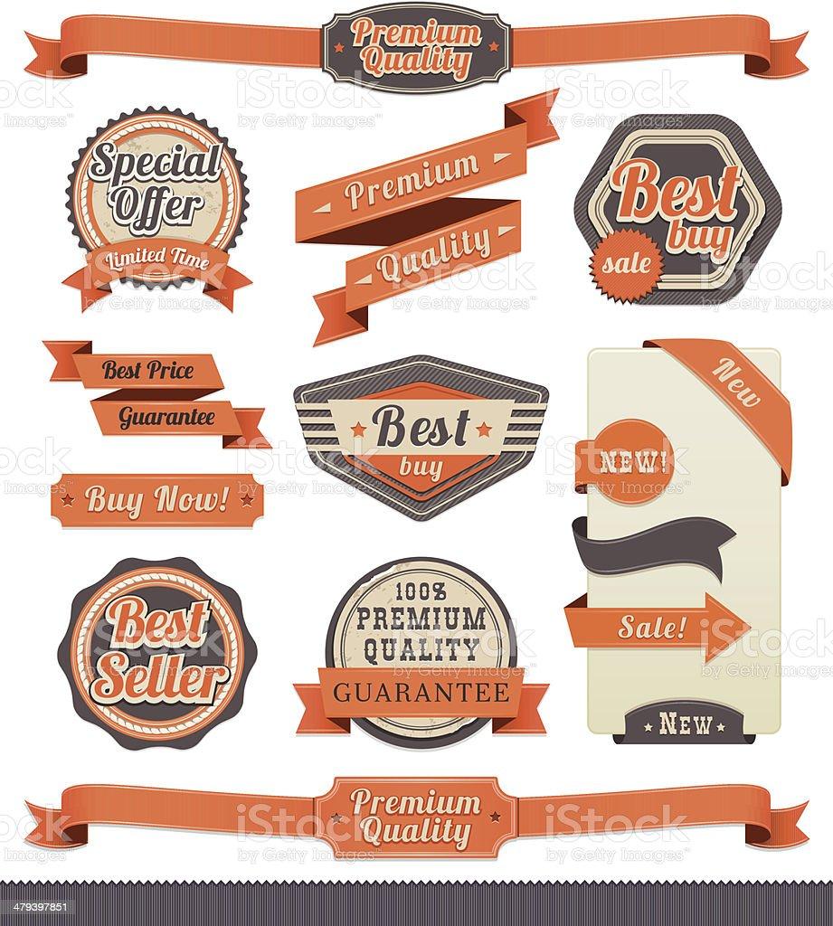 Ribbon and Badge Set vector art illustration