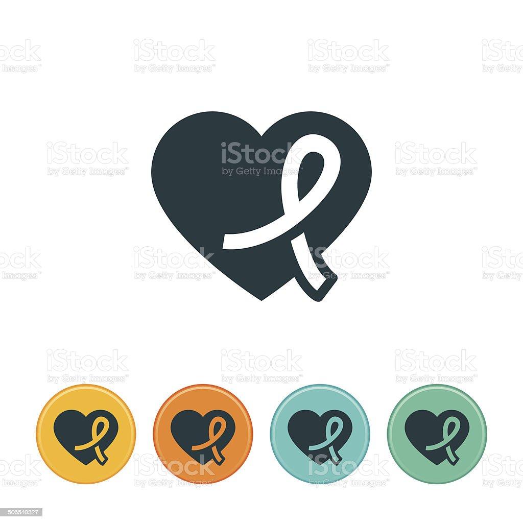 Ribbon and Heart Icon vector art illustration