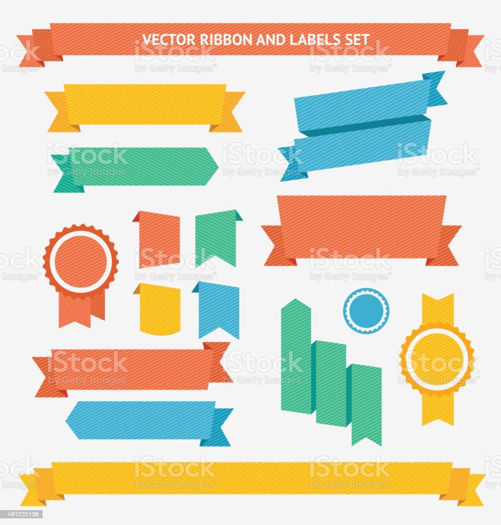 Ribbon and Labels Set. Vector vector art illustration