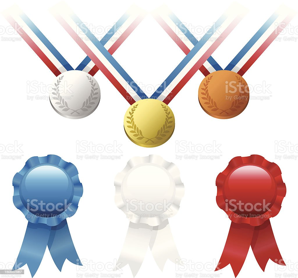 Ribbon and Medal Awards royalty-free stock vector art