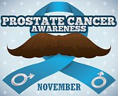 Ribbon and Mustache for Prostate Cancer Awareness Campaign in November